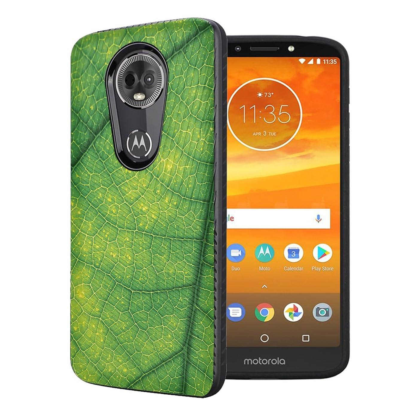 Moriko Case Compatible with Moto G7 Power, Moto G7 Supra [Embossed Diagonal Lines Hybrid Slim Armor Black Case] for Motorola Moto G7 Power - (Green Leaf Veins)