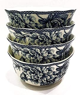 222 Fifth Adelaide Blue French Toile Soup/Cereal Bowls | Set of 4 | Fine China Porcelain