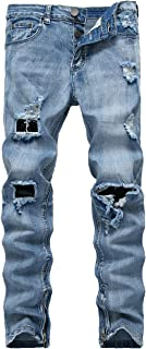 DSDZ Fashion Mens Stretch Ripped Hole Skinny Blue Jeans with Side Zippers