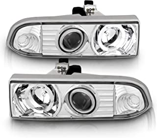 AmeriLite Chrome Projector Headlights Halo for Chevy S10 /Blazer - Passenger and Driver Side