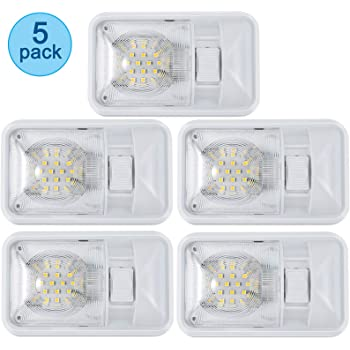 Amazon Com Kohree Upgrade 700 Lumen Led Rv Ceiling Double Dome Light Fixture 5 Pack 12v Camper Interior Lighting With On Off Switch For Trailer Rv Car Boat Clear Cover Natural White 4000 4500k 60