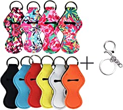 Thinvik 10 Pieces Chapstick Holder Keychain Neoprene Lip Balm Keychain Holder Travel Accessories(Multicolor 10 Pack)