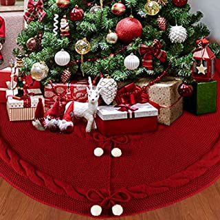 OurWarm Knitted Christmas Tree Skirt, 48 Inch Large Red Tree Skirt for Christmas Decorations Holiday Luxury Thick Tree Xmas Ornaments