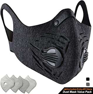 BASE CAMP Dust Pollution Mask Activated Carbon Dustproof Mask with Adjustable HOOK&LOOP Strap and N99 Filters Neoprene Air Pollution Mask for Allergy Woodworking Running