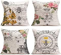 Easternproject Modern Vintage French Queen Bee with Beautiful Flower Lettering Illustration Throw Pillow Case Cushion Cover Cotton Linen Home Sofa Decorative 18''x18'' Square Pillowcase Set of 4