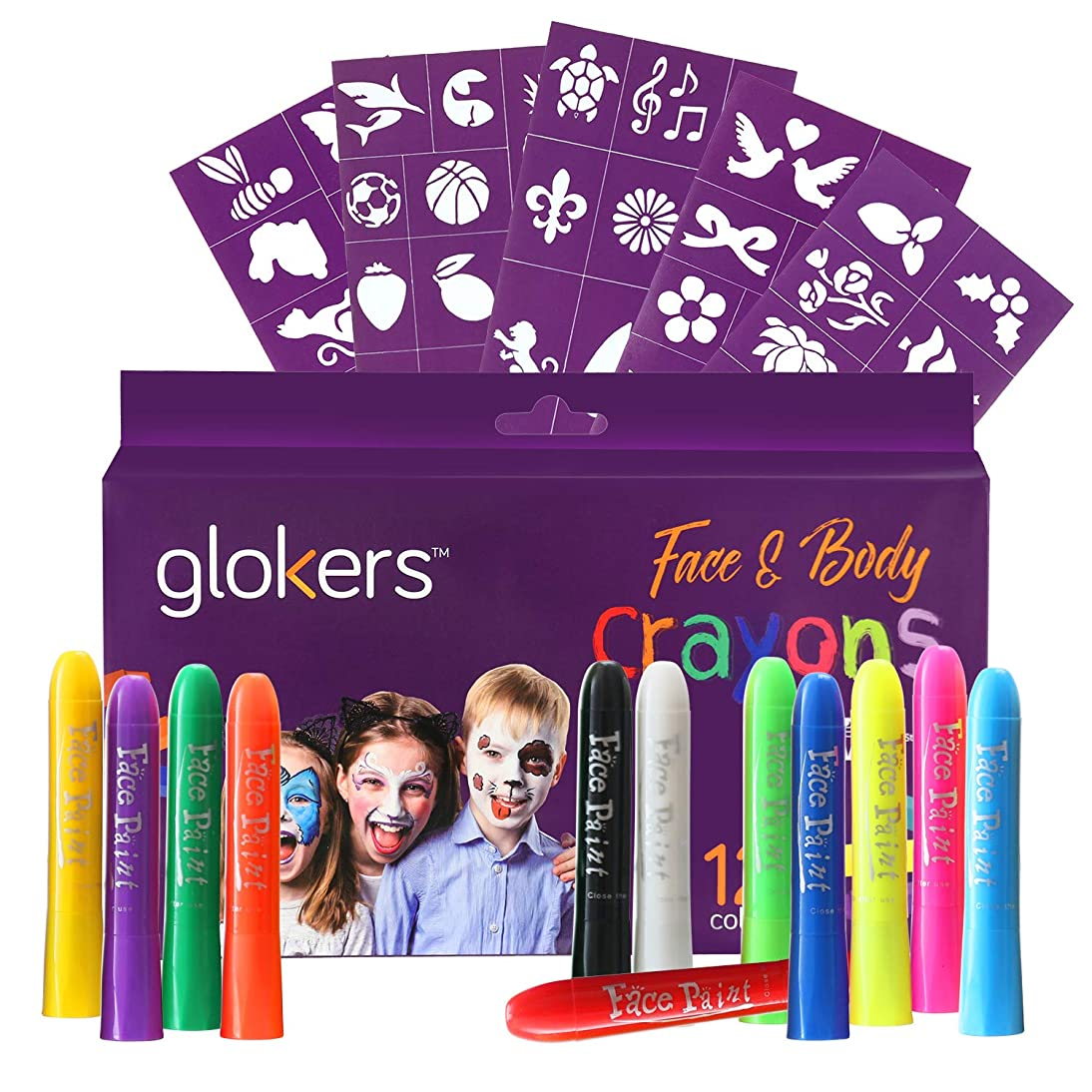 Glokers Face and Body Crayons Set | 12 Colors Washable, Non-Toxic and Hypoallergenic Paint Sticks | Sweat Proof Painting Markers for Children and Adult Costume, Halloween Parties | Bonus 50 Stencils