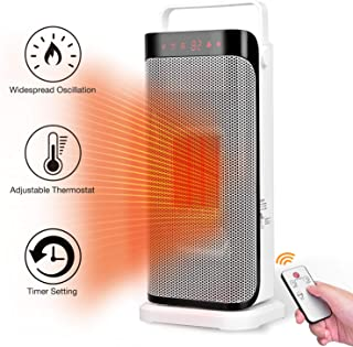 Space Heater with Remote - Instant Warm Ceramic Tower Heater Fan for Office with Adjustable Thermostat, Oscillation Function, Fast Small Portable Personal Heating Fan Under The Desk, White