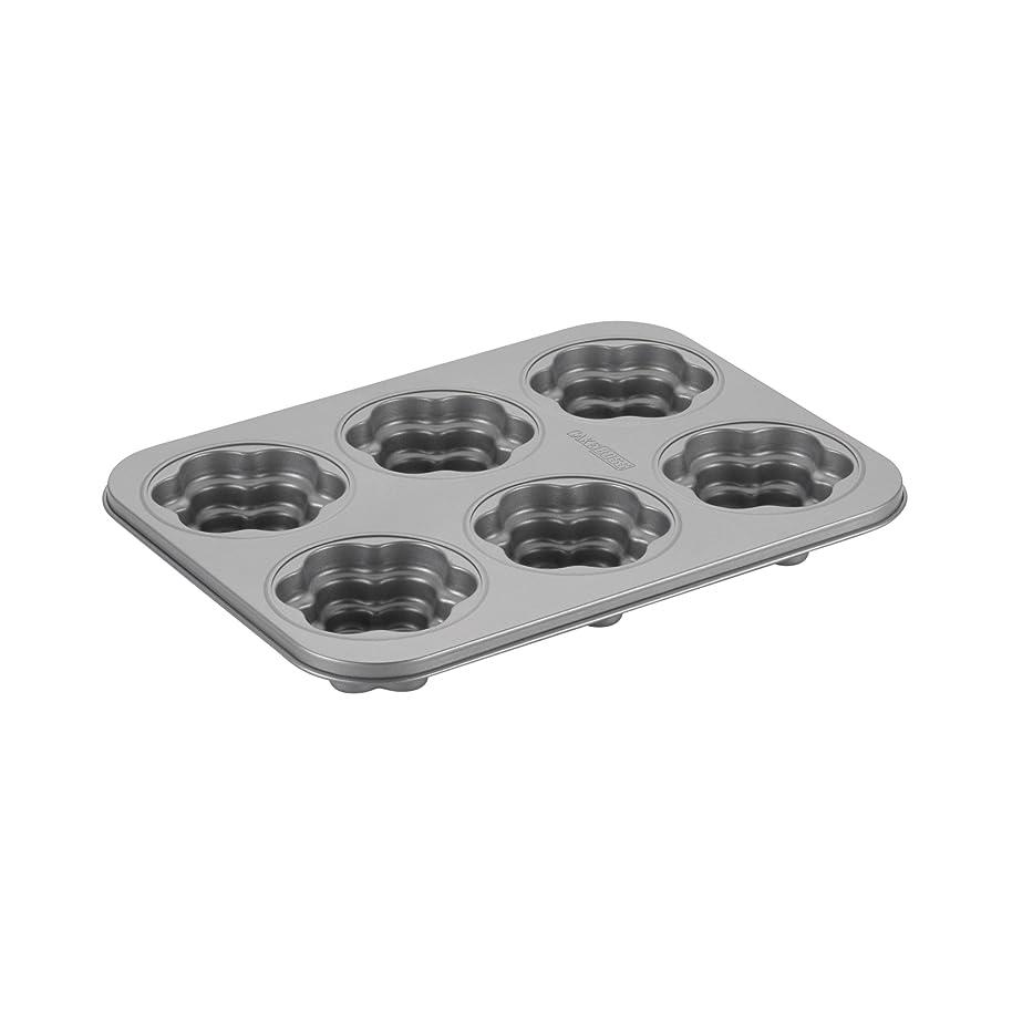 Cake Boss Novelty Bakeware 6-Cup Nonstick Flower Cakelette Pan, Gray