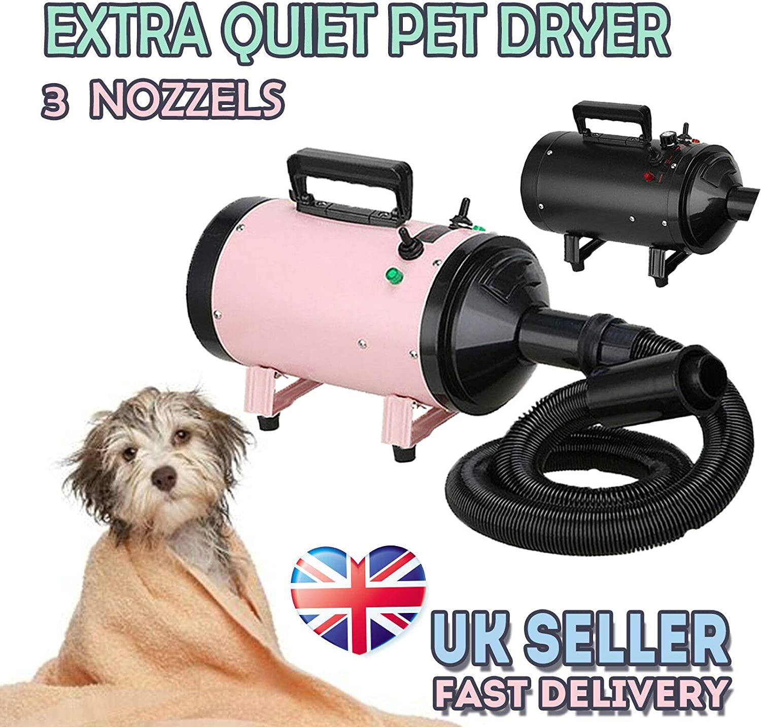 Pet Dryer 2800W 2 Wind Speed Dog Grooming Hair Fur Dryer Cat Hairdryer Professional Heater Blaster Low Noise 2.5M Flexible Hose with 3 Nozzles,Pink