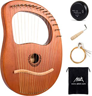 Lyre Harp, AKLOT 16 Metal Strings Maple Saddle Mahogany Body Lyra Harp with Carved Note Tuning Wrench Pick up and Black Gi...