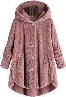 Whear Women's Coat Faux Fur Hooded Jacket Long Sleeve Casual Fleece Fuzzy Winter Button Cardigan Outwear with Pockets