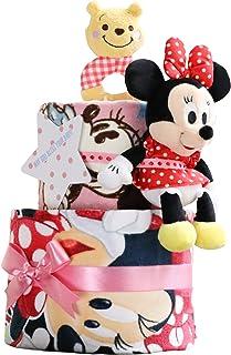 ディズニー disney おむつケーキ 出産祝い 身長計付きバスタオル ミニーマウス ぬいぐるみ ラトル くまのプーさん ピンク 女の子 パンパース テープタイプ S