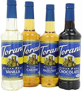 Torani Sugar Free Syrup Variety Pack for coffee, 25.4 Ounce (Pack of 4) one each of Sugar free: Vanilla, Caramel, Hazelnut and Chocolate