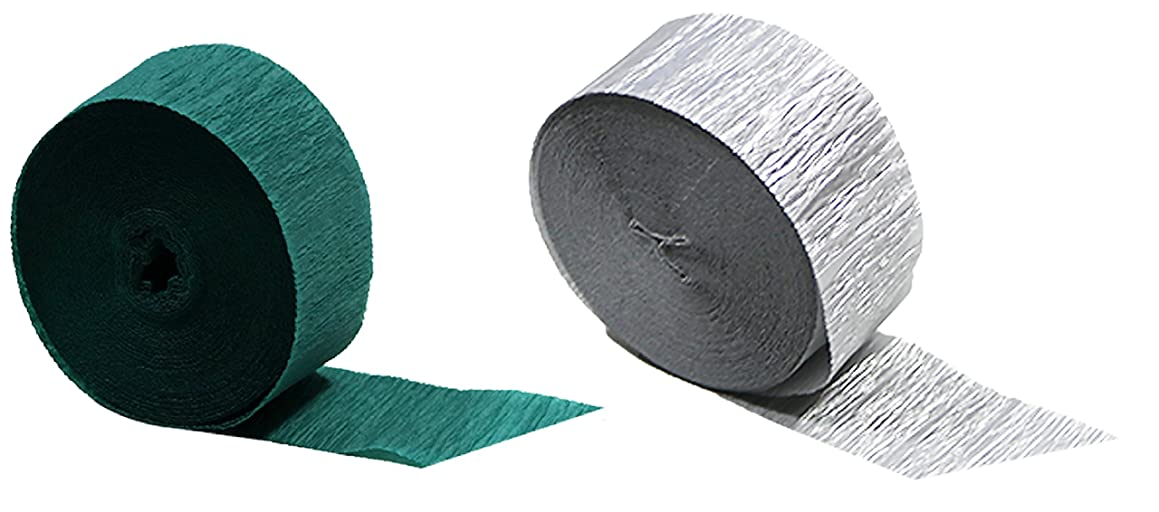 Teal and Silver Metallic Crepe Paper Streamers, 290 Feet Total, Made in USA