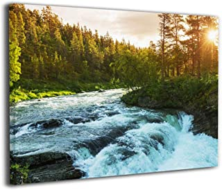 Hd8yehao River in Norway Sunrise Sunbeams Through Pine Trees Canvas Wall Art Prints Picture Contemporary Paintings Home Decoration Giclee Artwork Wood Frame Gallery Stretched