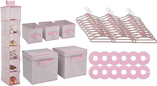 Delta Children Nursery Storage 48 Piece Set, Infinity Pink