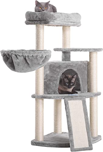 wholesale Hey-bro 40.5 inches Cat Tree with wholesale Full Sisal Posts and Scratching Board, Cat Tower 2021 with Padded Plush Perch and Cozy Basket sale