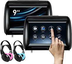 XTRONS 2 x 9 Inch Pair Car Headrest DVD Player HD Digital Adjustable Touch Screen 1080P Video Auto Games HDMI Children IR ...