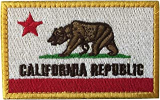 SpaceAuto California Republic State Flag Tactical Morale Patch Red & White Golden Border