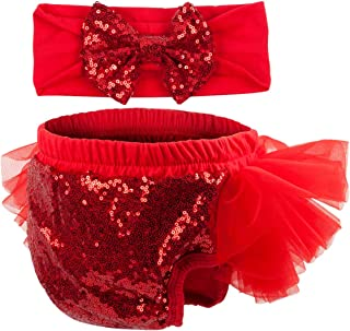 Baby Girls 2PCS Sets Cotton Tulle Sequins Diaper Cover Bloomers and Headband