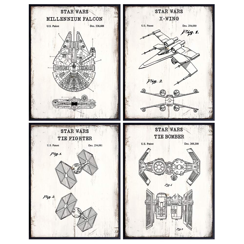 Original Star Wars Patent Prints Poster Set - Wall Art for Boys Bedroom, Kids Room, Home, Apartment - Rustic Vintage Decor Sign Plaque Pictures - Gift for Men, Guys, Women, Teens - 8x10 Unframed