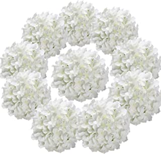 Flojery Silk Hydrangea Heads Artificial Flowers Heads with Stems for Home Wedding Decor,Pack of 10 (White)