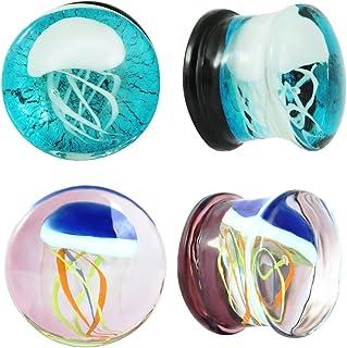 IPINK Glass Ocean Jellyfish Style Ear Stretcher Plug Gauges 2 Pairs