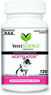 VetriScience Laboratories - Acetylator, Digestive Health Supplement for Cats and Dogs, 120 Capsules