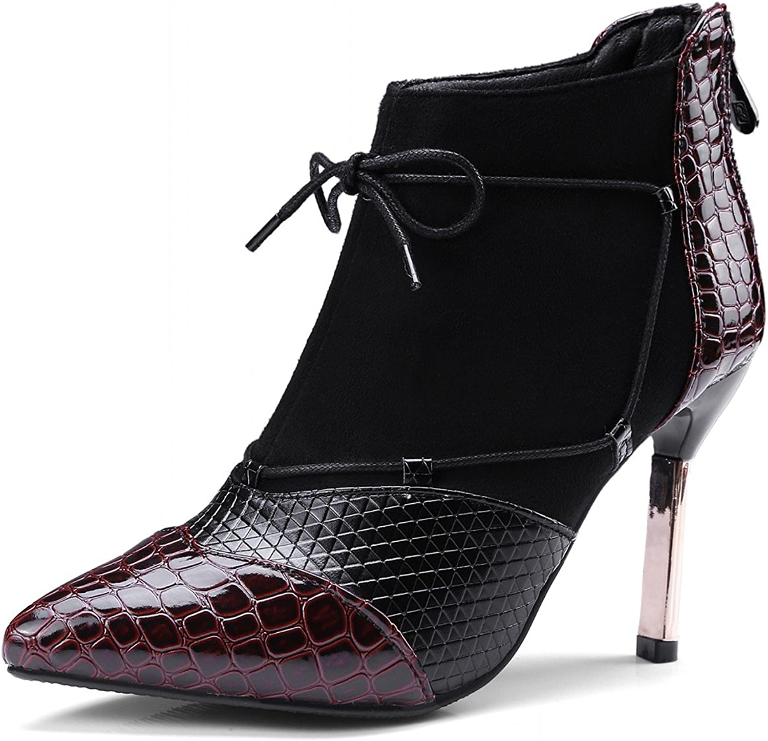 Rongzhi Womens Pumps Stilettos Ankle Boots Heels Pointed Toe Crocodile Lace up Zip