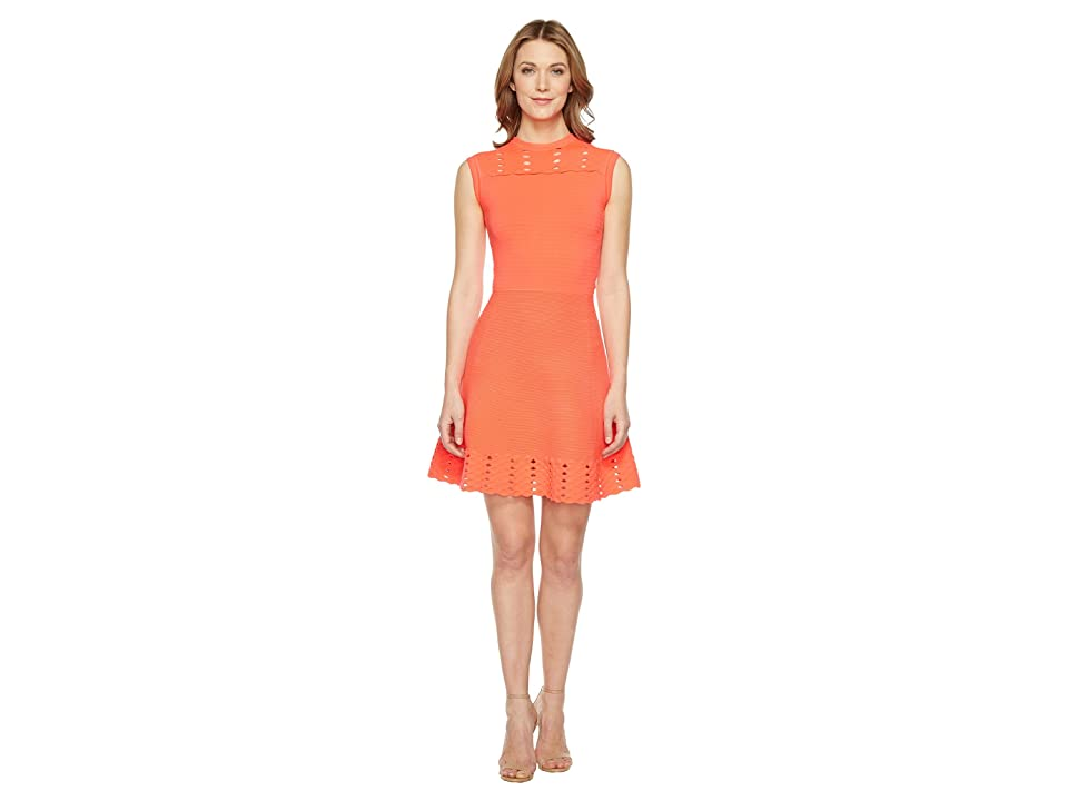Ted Baker Jacquard Panel Skater Dress (Mid Orange) Women