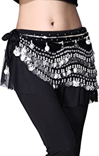 Women's Belly Dance Wave Shape Hip Scarf With Silver Coins