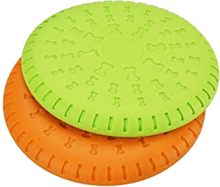 Mumoo Bear Dog Flying Disc Rubber Catcher Toy, Multi-Color, 9 inch Large, 2 Piece - Assorted item Colors & Prints May Vary