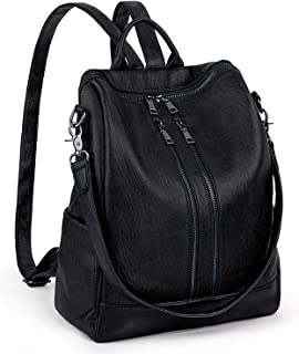 Women Backpack Purse UTO PU Leather Double Front Zipper Ladies Rucksack Shoulder Bag Large Size