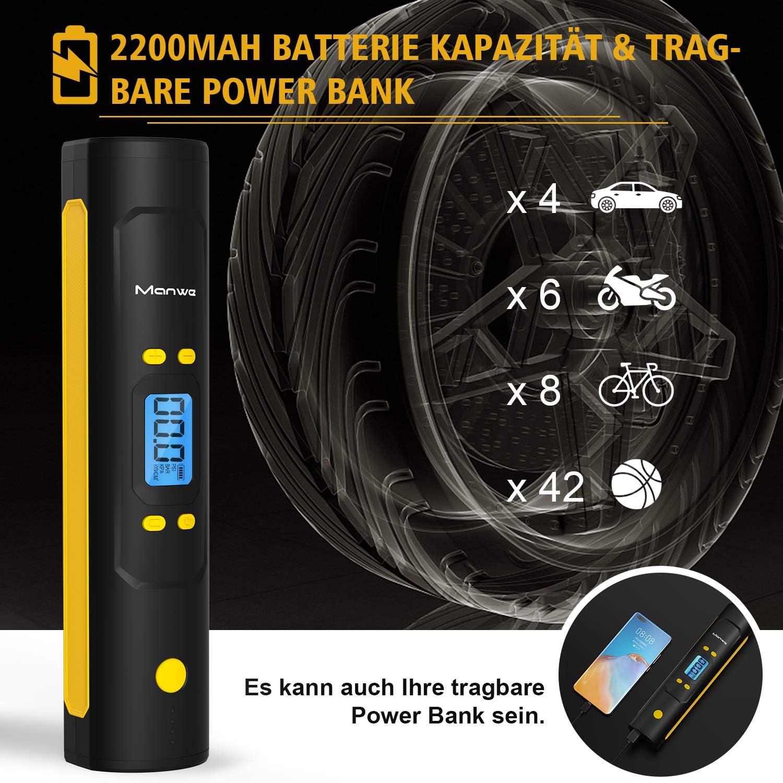 Manwe Elektrische Luftpumpe 150 PSI Luftkompressor Digitale Reifenpumpe Mini Fahrradluftpumpe mit LCD-Bildschirm Als Taschenlampe und Powerbank Akku Kompressor 2200mAh /± 0,5 genaue Druckregelung
