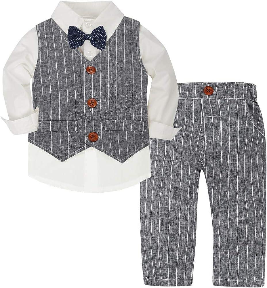 CARETOO Ensemble Costume Cravate Enfant B/éb/é Gar/çon 3 Pcs Chemise Gilet de Gentleman Formels v/êtements danniversaire Pantalon