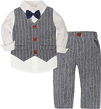 CARETOO Baby-Jungen Bekleidungssets Strampler Taufkleidung Anzug Set Langarm Hemd+Hose+Weste+Fliege Krawatte Gentleman Suit Hosen Baumwolle f/ür Weihnachten Hochzeitsfest