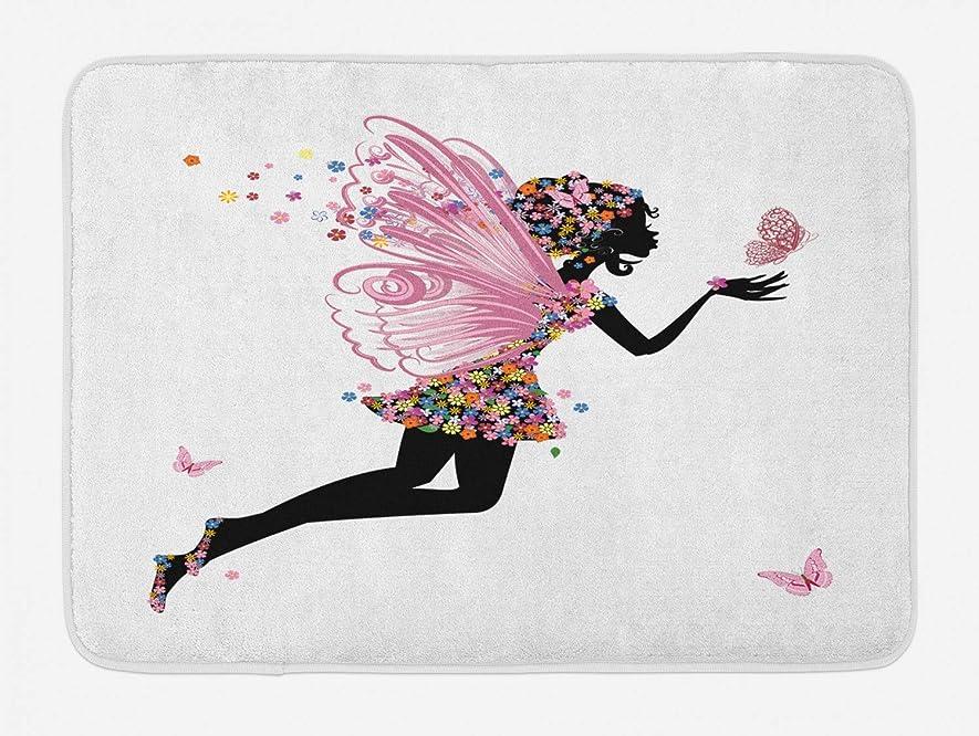 ペースト松の木おばさんHiYash 妖精バスマットフラワーアレンジメントフラワーパターンバタフライ漫画スタイルの翼のある女の子天使オフィスヴィラマットフロアスタディカーペット40x60cmフランネル滑り止め生地