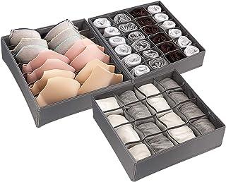 Organisateur de Tiroir Pliable Non-tissé pour sous-vètements, Redmoo 3 pièces système d'organisation de tiroirs, boîte de ...