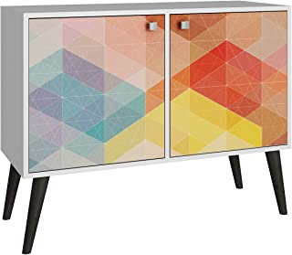Manhattan Comfort Avesta Double Side Table 2.0 Collection Free Standing Modern Side Table / TV Stand with Storage Includes 2 Doors with 3 Shelves and Features Splayed Legs, White/Stamp/Yellow Legs