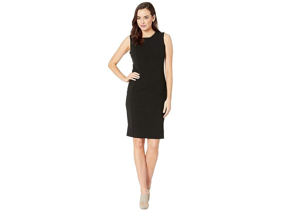 MARINA Short Stretch Crepe Dress w/ Exposed Zip Back (Black) Women