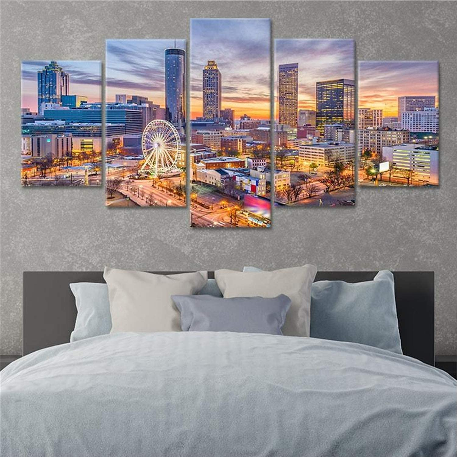 Wall Art 5 Pieces Large Painting Animer and price revision Print Sale Skyline Po Panels Atlanta