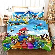 DFTY Parure de lit pour enfant Mario Game - En microfibre - Impression numérique 3D - 8,220 x 240 cm