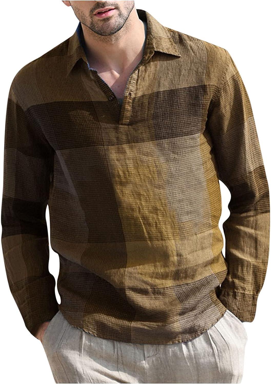WOCACHI Cotton Linen Henley Shirts For Mens, Long Sleeve Plaid Patchwork Lapel Shirt Fall Casual Beach Tee Tops