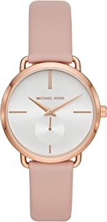 Michael Kors Women's Stainless Steel Quartz Watch with Leather Strap