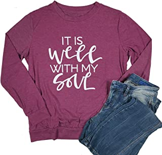 It is Well My Soul Christian T Shirt Women Casual Long Sleeve Crew Neck Blouse Tops Tee (Large, Red)
