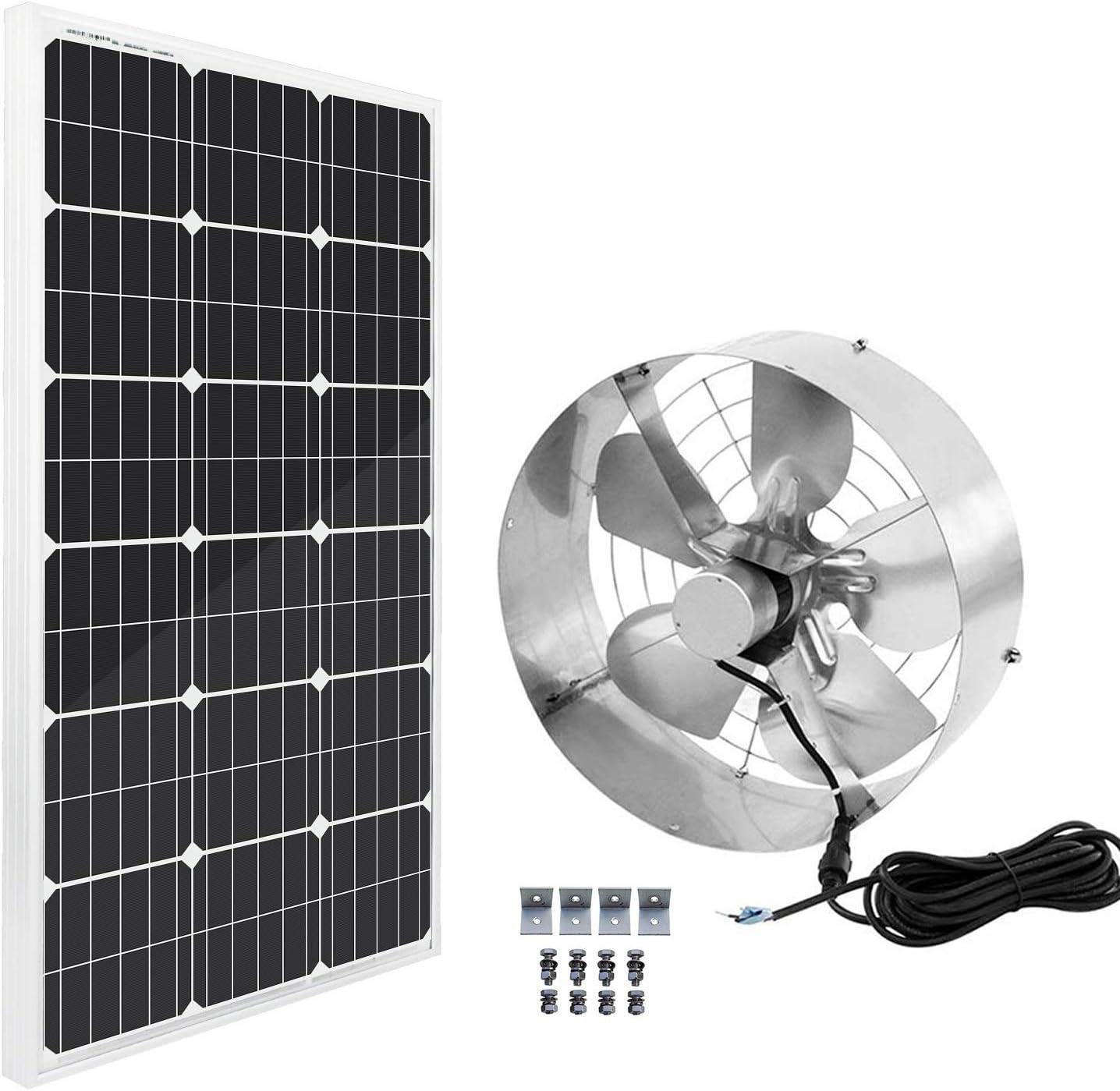 ECO-WORTHY Solar Power Attic 返品交換不可 Gable Fan 100 w - 新生活 Panel Watts
