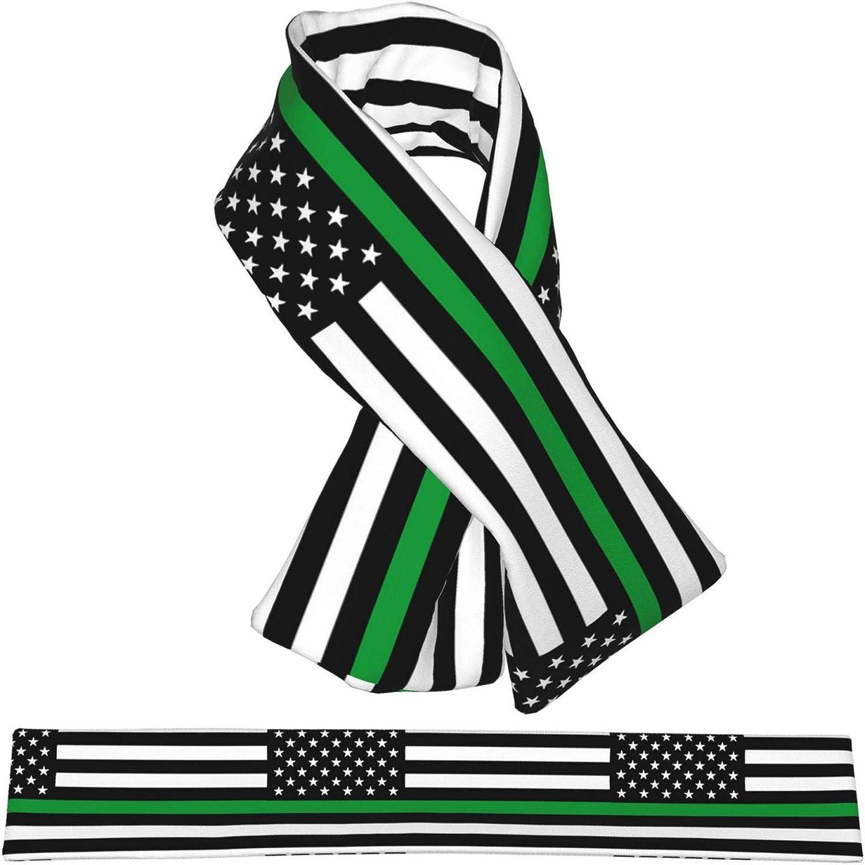 Winter Scarfs Thin Green Line American Flag Scarves Wraps Neck Warmer Flannel Winter Cross Tie Scarves