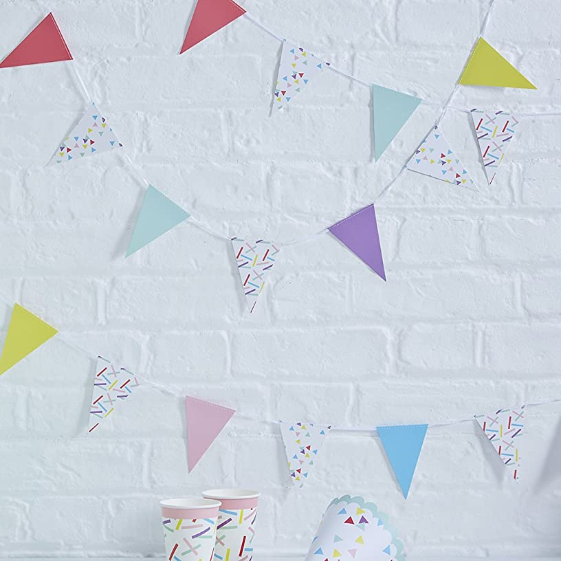 Ginger Ray PM-911 Pick And Mix Sprinkles Paper Mini Bunting Hanging Decoration, Multicolor