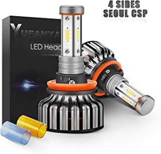 H11(H8 H9) LED Headlight Bulbs Fog Lamp-24xCSP Chip 100W 12,000LM-YUFANYA Genius 4 Sides 3000K/6000K/8000K-For Low Beam Fog Lights Replacement-2 Yrs Warranty(Ultra Version)