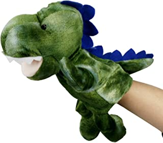 Role Play Hopearl Plush Dinosaur Hand Puppet with Open Movable Mouth for Imaginative Play Gift for Kids Boys Girls Green 13 Interactive Toy for Storytelling Teaching Puppet Theater